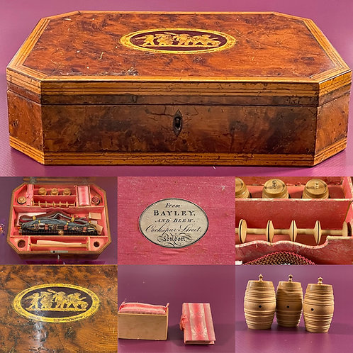 A Georgian Yew Wood Sewing Box - with contents