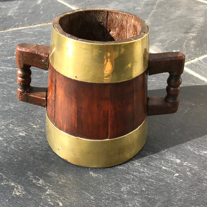 Antique treen Yew Wood Vessel