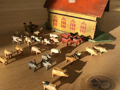 Antique Folk Art Noah's Ark - Small Size