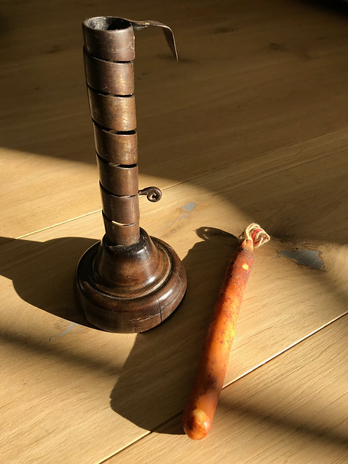 Antique Spiral Candlestick with tallow candle