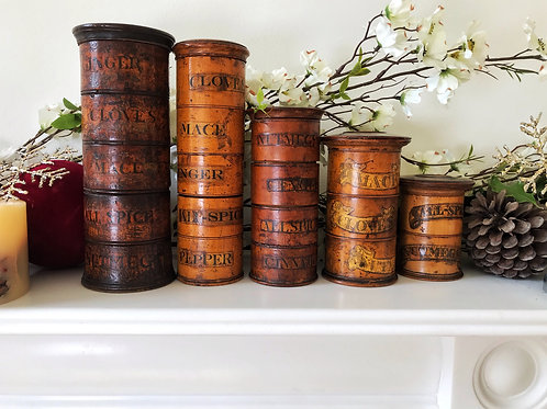 Antique Treen Spice Towers