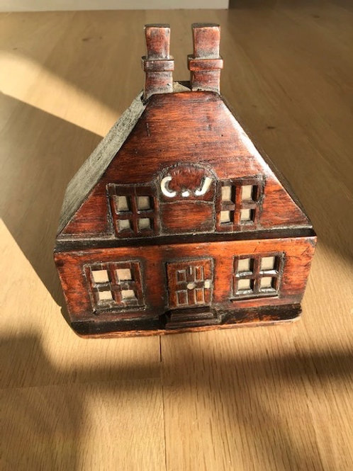 Antique Folk Art Box - in the shape of a house