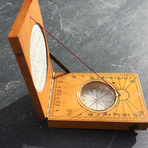 Antique Boxwood Pocket Sundial/Compass