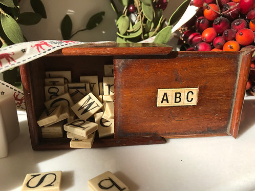 Antique Spelling Box - Bone Alphabet Letters