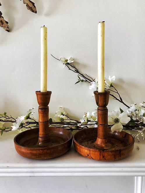Antique Treen Brighton Bun Candlesticks - extra long stems