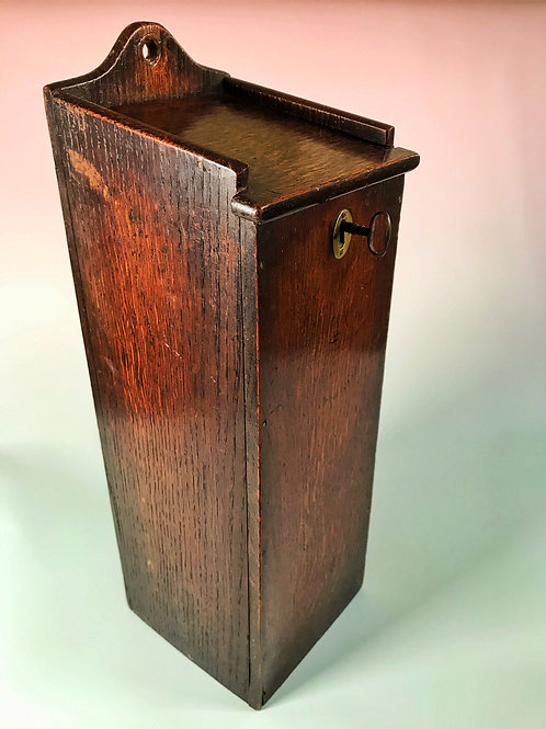 Antique Oak Candle Box  - Unusual with locking key