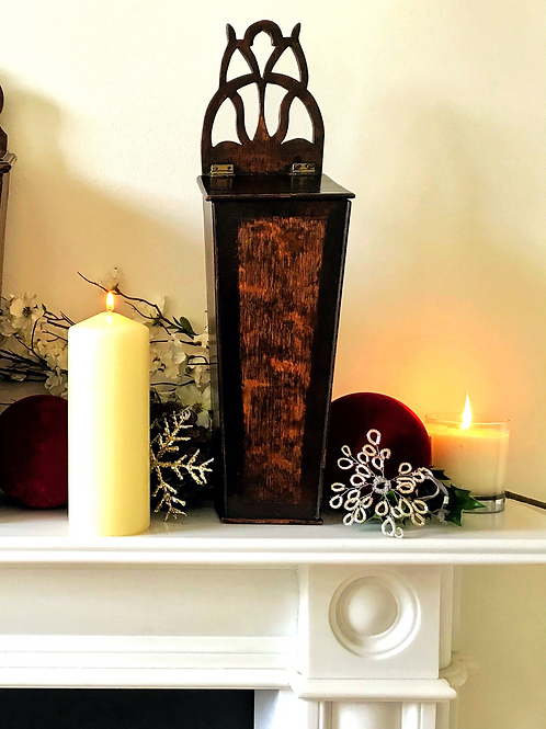 Antique Oak Candle Box -narrow proportions