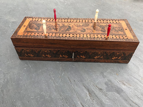An Antique Tunbridge Ware Cribbage Box