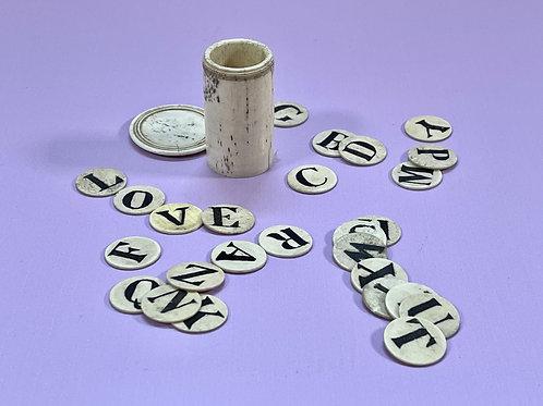 An Antique Bone Alphabet Set - complete