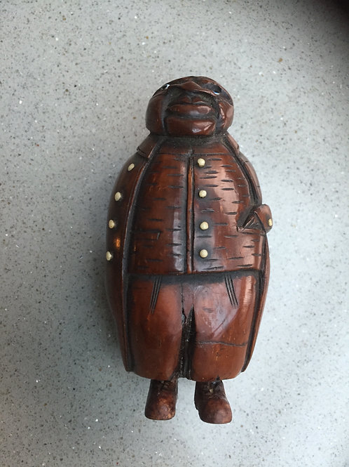 Antique Coquilla Nut Figural Snuff Box