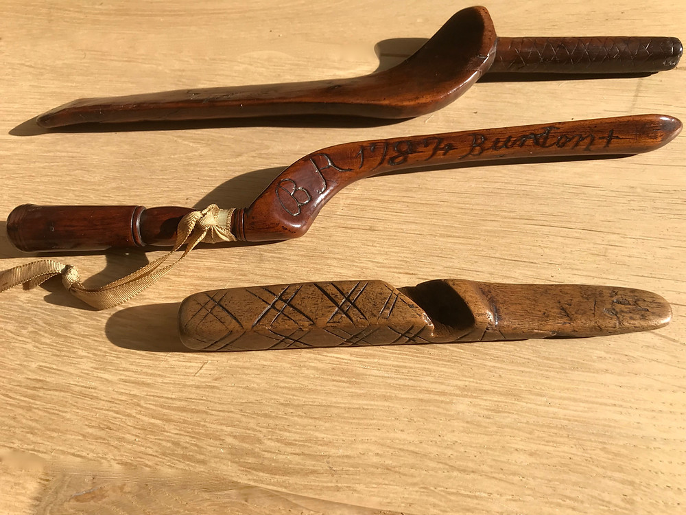 three antique treen knitting sheaths for sale opus antiques uk