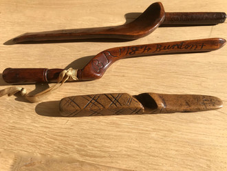 Three Antique Treen Knitting Sheaths