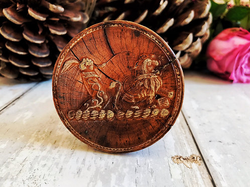 A Rare Antique Treen Butter Stamp -place name