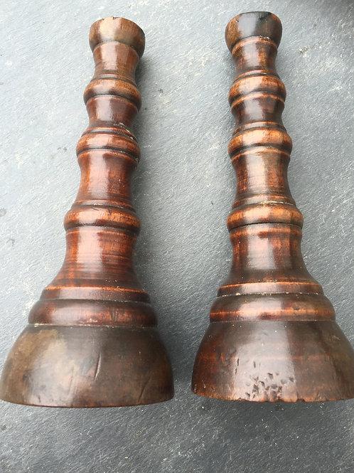 A Pair of Antique Walnut Candlesticks
