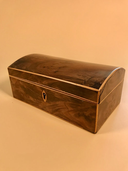 A Yew Wood Domed Top Box - dated 1817
