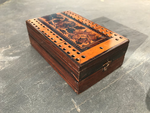 Antique Tunbridge Ware Cribbage Board