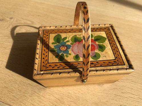 Antique Tunbridge Ware Sewing Basket Box