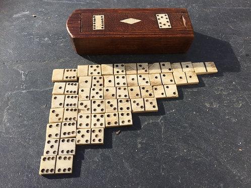 A Prisoner of War Domino Box and Bone Dominoes