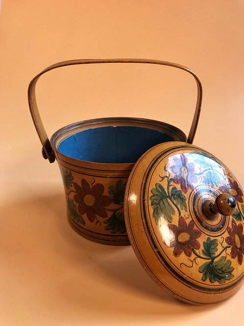 Antique Circular Painted Box with a handle