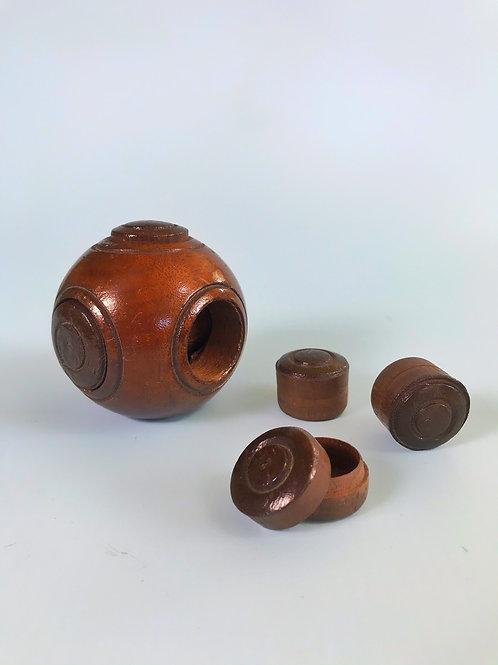 Antique Puzzle Ball - Five Secret Compartments