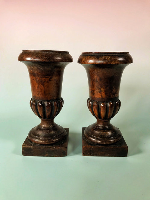 Antique Treen Pair of Antique Urns - for the fireplace