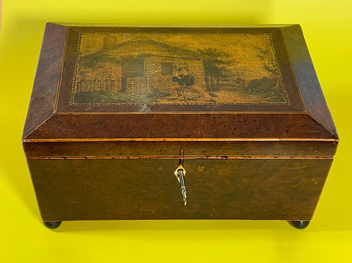 Antique Yew Wood Sewing Box