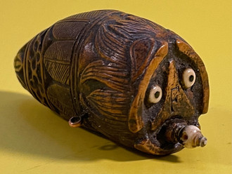 Antique Treen Snuff Flask- dated 1819