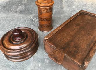Three Antique Treen Spice Boxes
