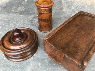 Three Antique Treen Spice Boxes
