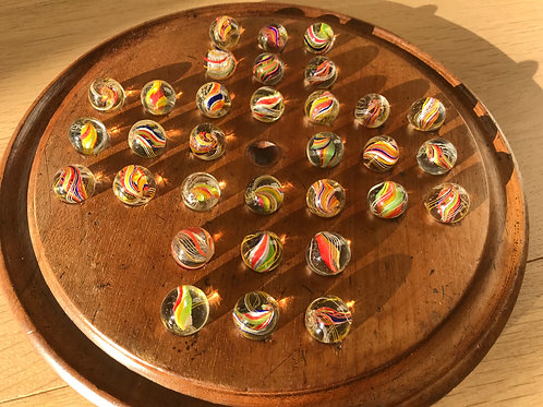 Antique Victorian  Solitaire Board & Glass Marbles