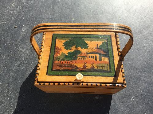 Antique Painted Tunbridge Ware Pannier/Basket