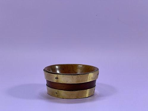 Antique Treen Brass Bound Bowl