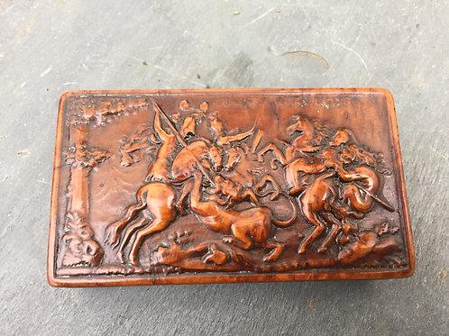 Antique Pressed Wood Snuff Box
