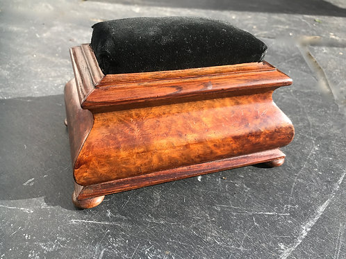 Antique Walnut and Rosewood Pincushion Box
