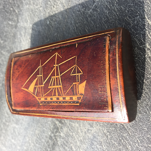 Antique Snuff Box with Ship Inlay - J Harrison