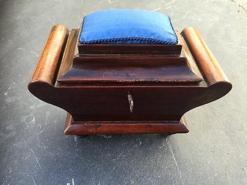 Antique Mahogany Pin Cushion/ Sewing Box