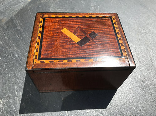 Antique Mahogany Box - Masonic Inlay