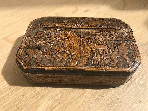 An interesting double sided pressed birch wood antique snuff box