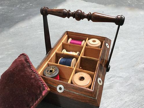 Antique Rosewood Sewing Basket