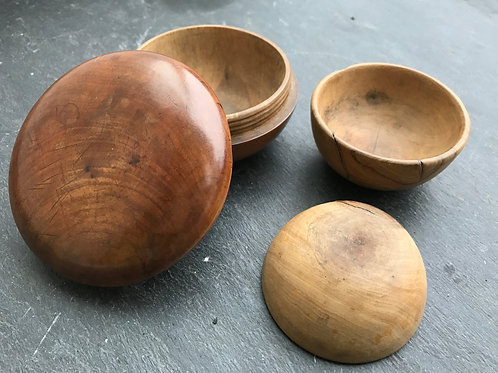 Antique Treen Set of Travelling Bowls