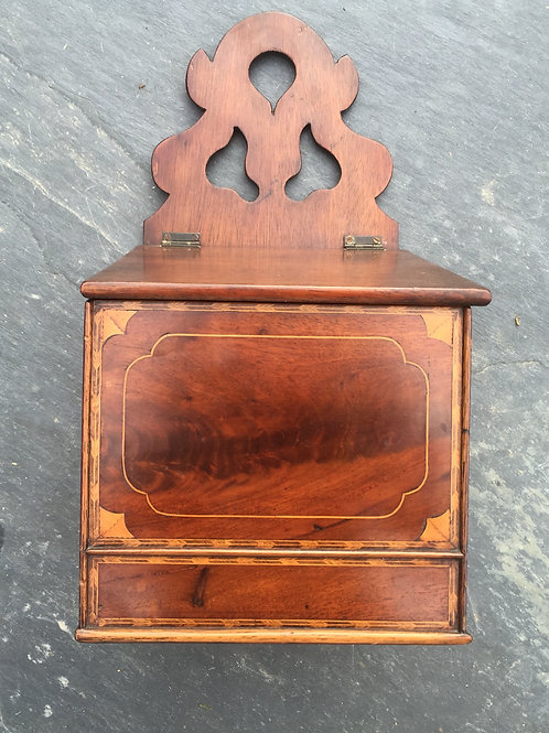 A Georgian Flame Mahogany Wall Hanging Box