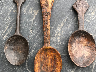 Three Glorious Antique Treen Spoons