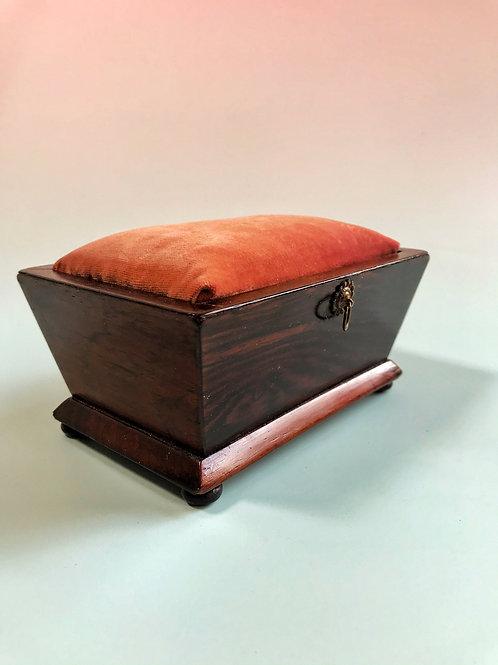 Antique Pin Cushion Box - Rosewood