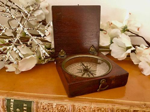 Antique Mahogany Cased Explorer's Compass