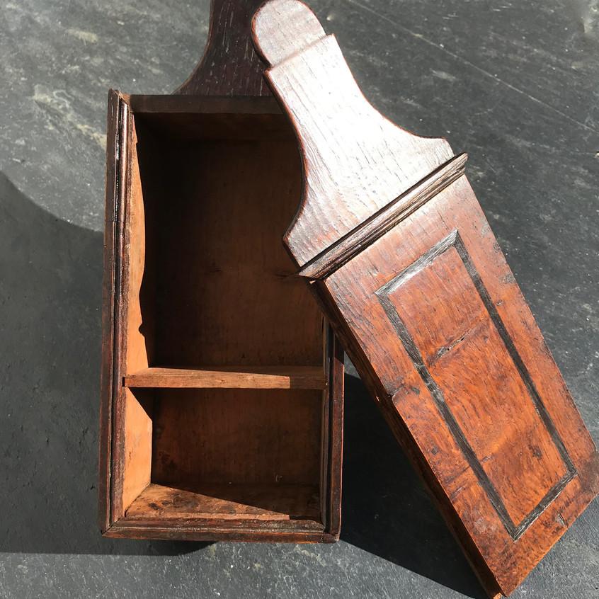 Antique treen oak tinder box for sale, opus antiques uk3