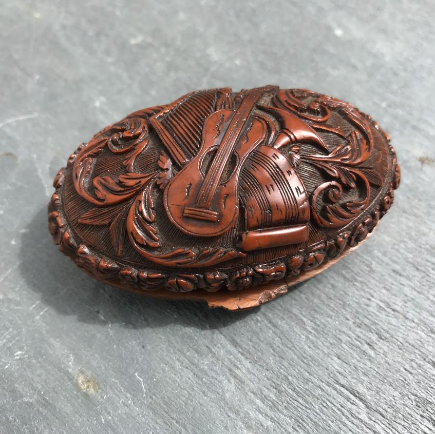 Antique Coquilla Nut Snuff Box