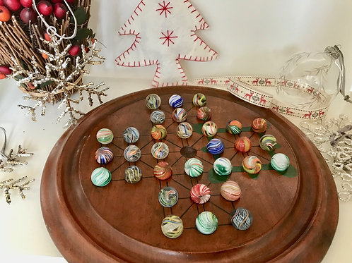 Antique Solitaire & Military Game - Old Marbles - Old Instructions