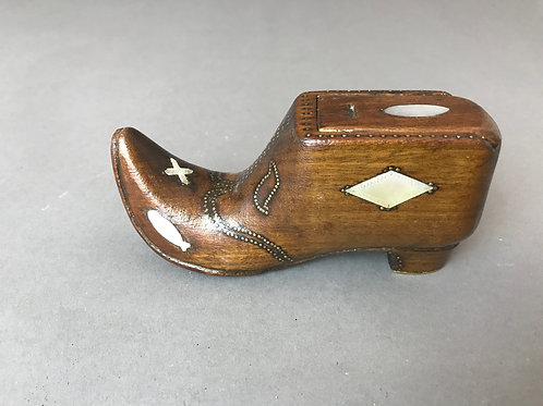 Antique Table Snuff Shoe - inlaid with tulips, fish