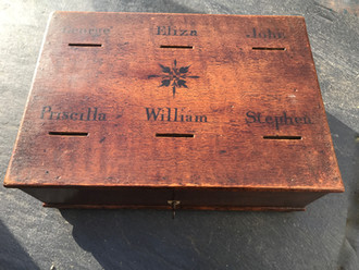 Industry, Sobriety, Obedience - treen savings box