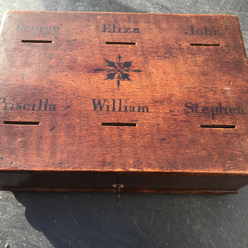 antique oak savings box, for sale Opus Antiques1